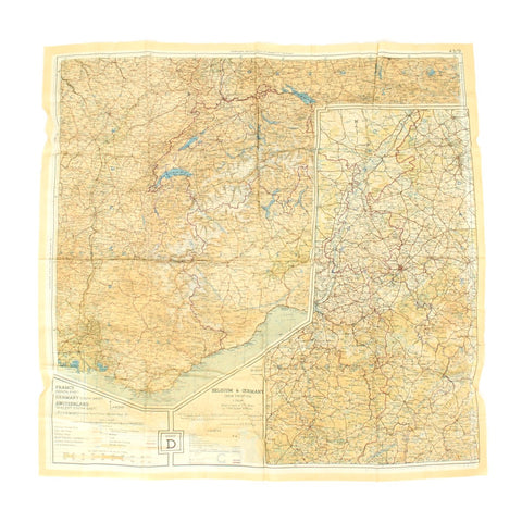 Original U.S. WWII Two-Sided Color Silk Escape Map of Western Europe 43/C 43/D