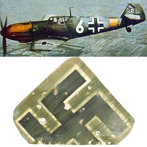 Original German WWII Luftwaffe Messerschmitt Bf 109 Tail Fin Swastika Section - Me 109