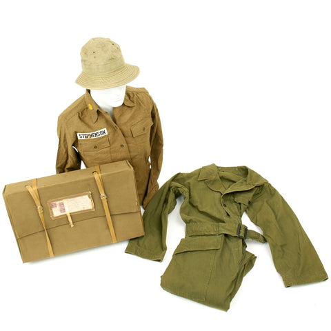 Original U.S. WWII Women's Army Corps WAC Nurse Named Grouping with HBT Coveralls Original Items