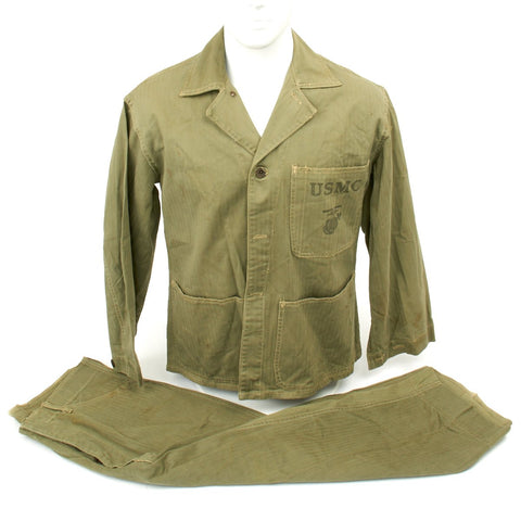 Original U.S. WWII USMC HBT Herringbone Twill P41 Utility Combat Uniform Original Items