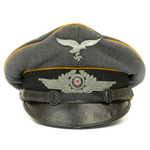 Original German WWII Luftwaffe Paratrooper Flight Crew Other Ranks Visor Cap