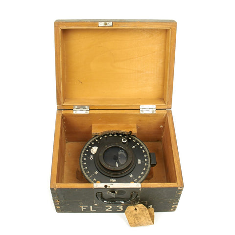 Original German WWII 1939 Luftwaffe Aircraft Navigational Bubble Compass FL 23282 with PS6 Bearing Plate
