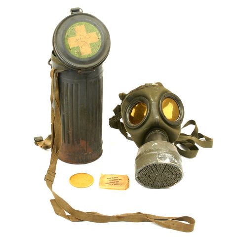 Original German WWII Medic GM30 Gas Mask with 1936 Filter and Can Original Items