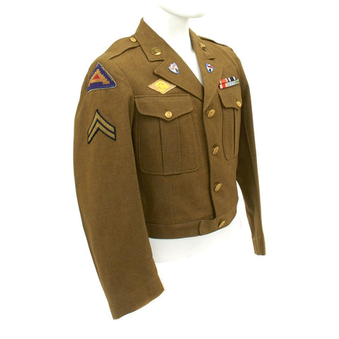 Original U.S. WWII 750th Railway Operating Battalion Ike Jacket with Distinctive Unit Insignia