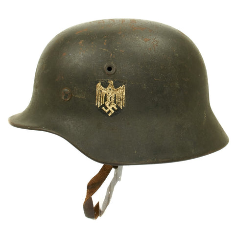 Original German WWII Army Heer M40 Single Decal Helmet - NS64 Original Items