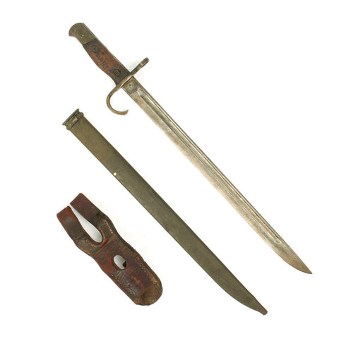 Original Japanese WWII Early Type 30 Hooked Quillon Bayonet with Leather Frog - Named USGI Bring Back