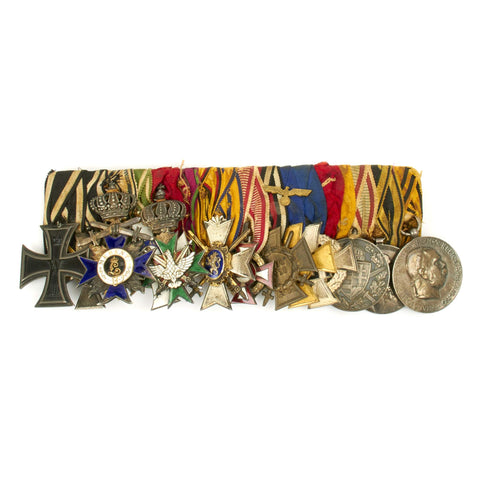 Original German WWI WWII High Ranking Officer Medal Bar - 13 Medals