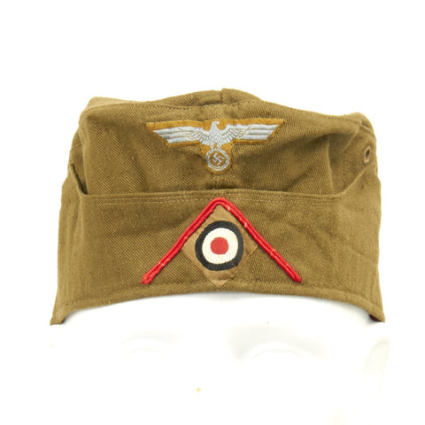 Original WWII German DAK Afrika Korps Artillery Overseas Cap - Maker Marked - Size 56