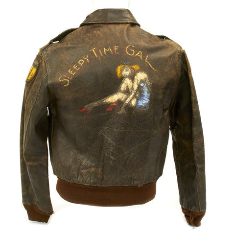 "Original U.S. WWII B-24 Liberator 484th Bombardment Group Named ""Sleepy Time Gal"" A-2 Flight Jacket with Italian Theatre Patches Original Items"