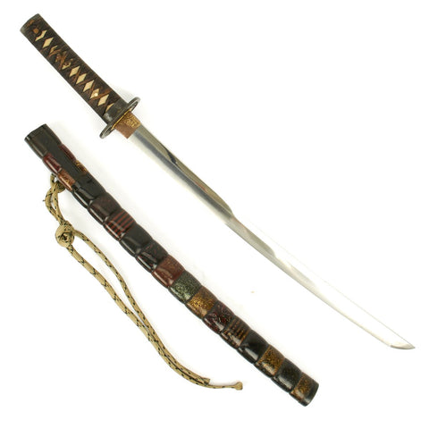Original Japanese Wakizashi Sword with Highly Decorative Scabbard - Ancient Handmade Blade Original Items