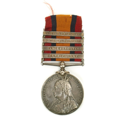 Original British Second Boer War Named Queen's South Africa Medal with 4 Clasps
