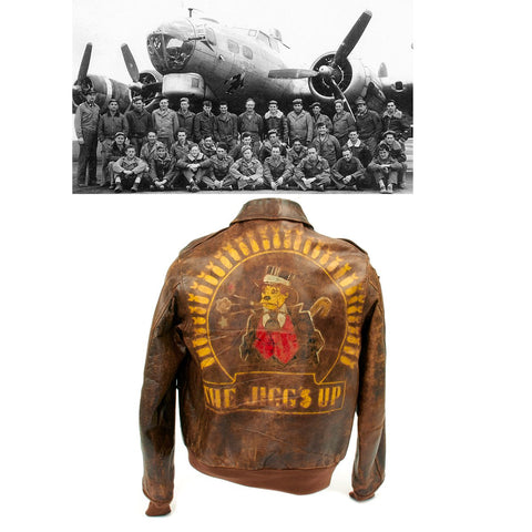 Original U.S. WWII B-17 JIGGS UP Shot Down A2 Leather Flight Jacket