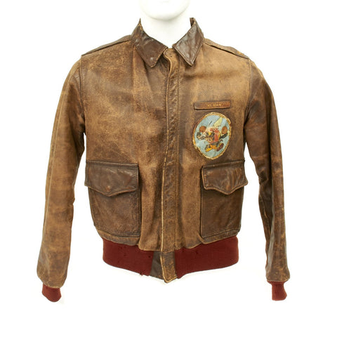 Original U.S. WWII Spitfire Pilot 307th Fighter Squadron Named A2 Leather Flight Jacket