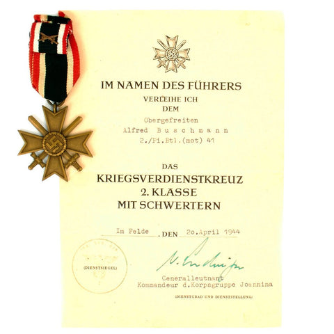 Original German WWII War Merit Cross 2nd Class with Crossed Swords Pin and Award Document Original Items