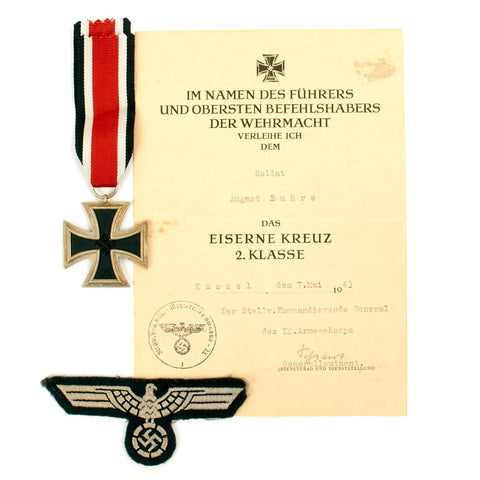 Original German WWII Wehrmacht 2nd Class Iron Cross with Award Document and Breast Eagle Original Items