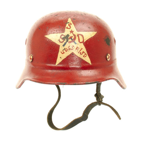 Original Russian WWII Police Helmet - Captured German Luftschutz Beaded M40 Helmet Q64 Original Items