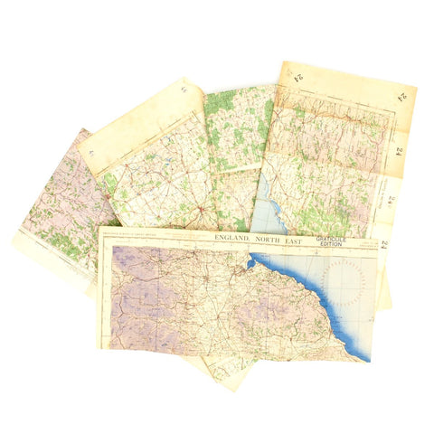 Original USAAF and British WWII War Office Color Maps of Germany, France, and England - Set of 5