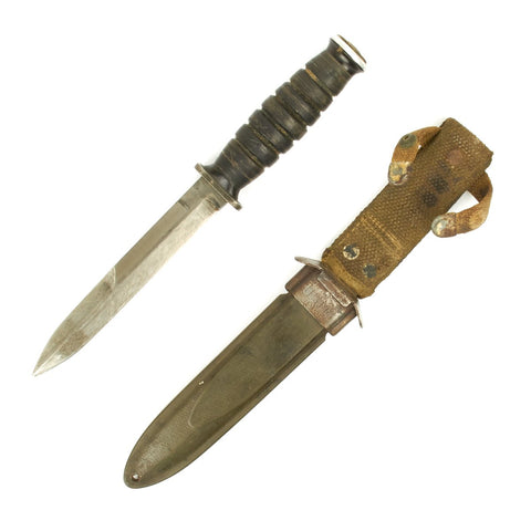 Original U.S. WWII Imperial M4 Bayonet Arsenal Converted to Fighting knife with M8 Scabbard Original Items