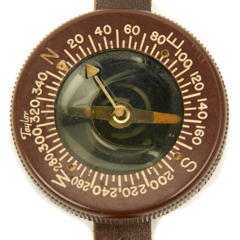 Original U.S. WWII Paratrooper Liquid Filled Wrist Compass by Taylor - Excellent Condition Original Items