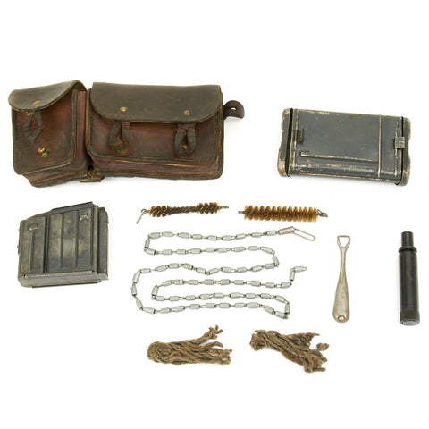 Original German WWII K43 G43 Rifle Magazine and 98K Cleaning Kit with French MAS 36 Pouch Original Items