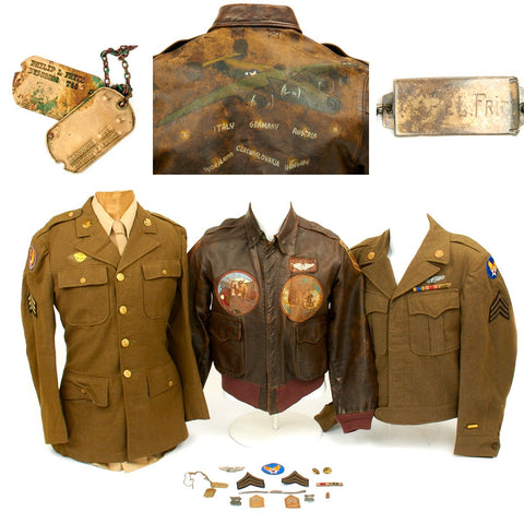 Original U.S. WWII B-24 Liberator 484th Bombardment Group Named Grouping with Painted A2 Jacket and Italian Made Patches Original Items