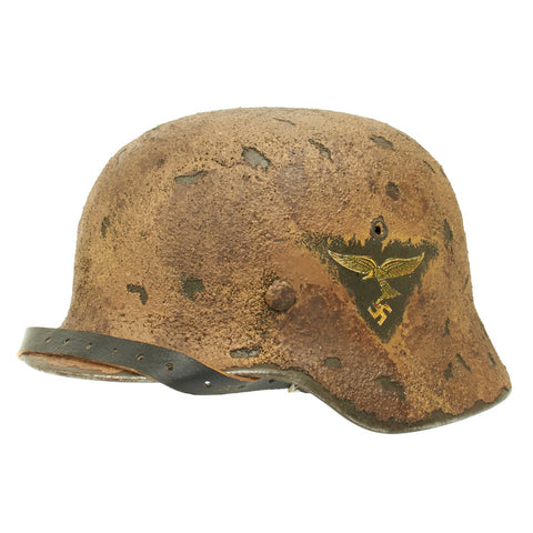 Original German WWII M40 Refurbished Luftwaffe Afrikakorp Helmet - 1st Pattern Decal - Stamped EF66