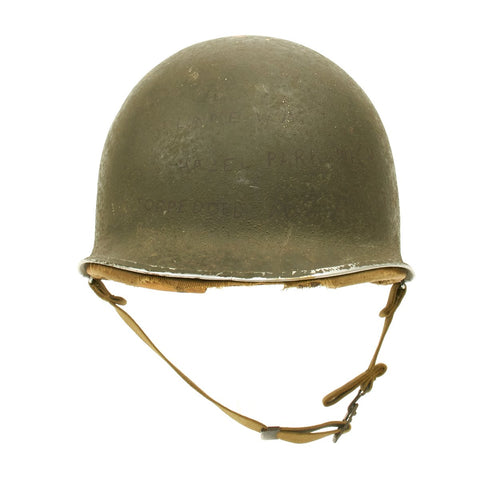 Original U.S. WWII Torpedoed Ship 1941 M1 McCord Fixed Bale Front Seam Helmet with Hawley Liner