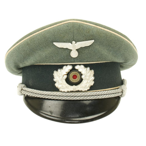 Original German WWII Army Heer Officer Visor Cap by EREL (Double Marked)