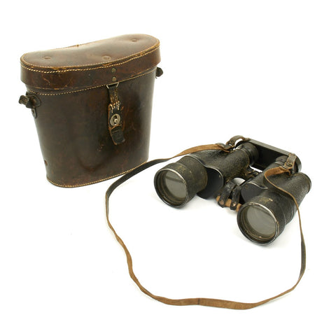 Original German WWII Emil Busch (cxn) 10x50 Dienstglas Binoculars with Leather Case Original Items