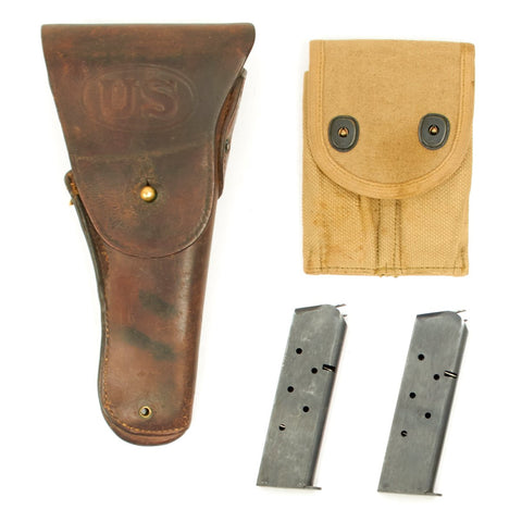 Original U.S. WWI .45cal 1911 Pistol M1916 Leather Holster, Ammo Pouch, & Magazines Set Original Items