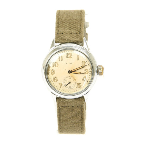 Original U.S. WWII Army 17-Jewel Wrist Watch by Elgin - Fully Functional
