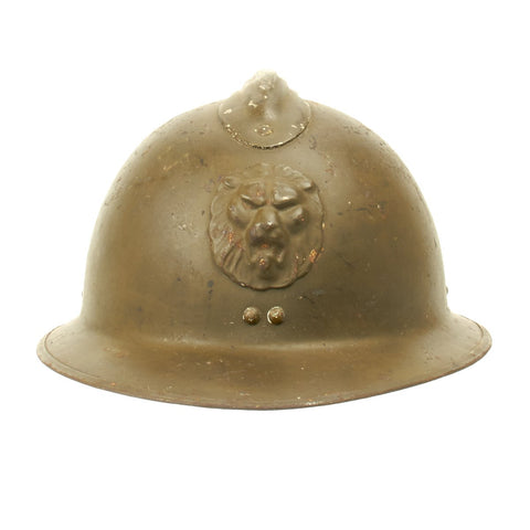 Original Belgian WWII Model 1926 Adrian Infantry Helmet with Lion Badge