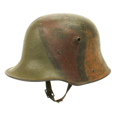 Original German WWI M17 Stahlhelm Helmet with Original Camouflage Paint and Liner with Chinstrap