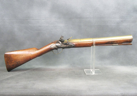 British Queen Anne Military Issue Brass Barrel Blunderbuss by Halfhide of London dated 1710