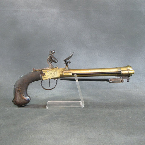 Original French Brass Blunderbuss Pistol with Spring Bayonet by Faisan of Namur