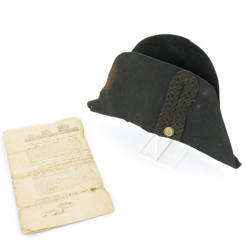 Original 18th Century British Royal Naval Officer Collection- Bicorn Hat with Will Dated 1783