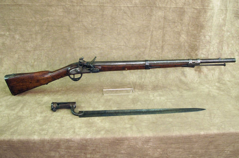 Original Napoleonic Ear Austrian Flintlock Short Pioneer Musket with Sword Socket Bayonet Original Items