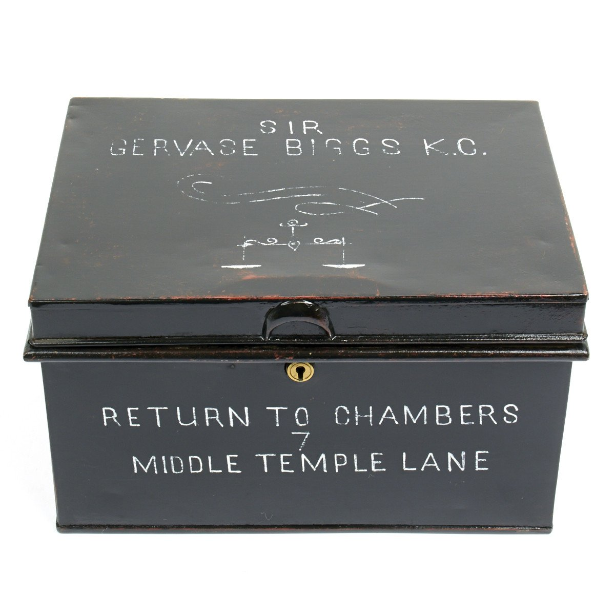 Original British Barrister Wig and Gown Tin Chest of Sir Gervase ...