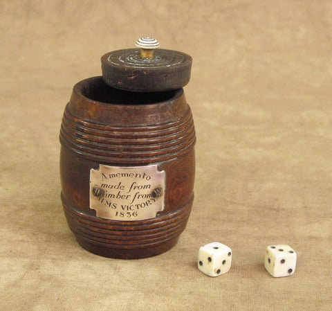 British Dice Shaker Set Comprised of Timber from H.M.S. Victory, Dated 1836 Original Items