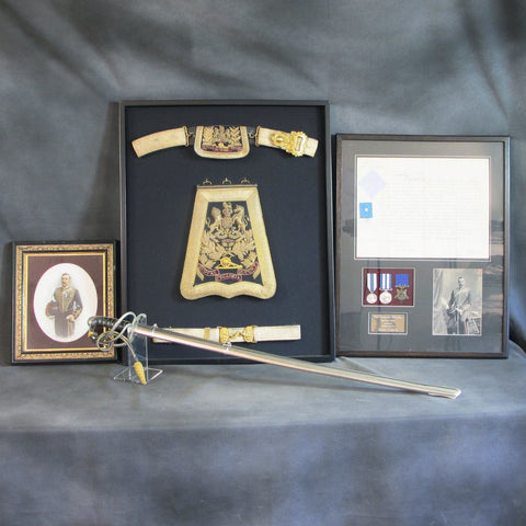 Original British Victorian Royal Horse Artillery Officer Set with Commission Signed by Queen Victoria