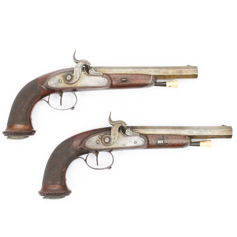 Original Matched Pair of Percussion Officer Pistols- Circa 1842