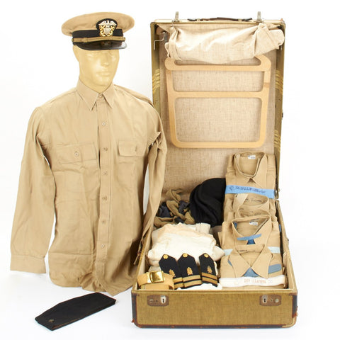 U.S. WWII Named Naval Officer Uniform Collection with Vintage Suitcase Original Items