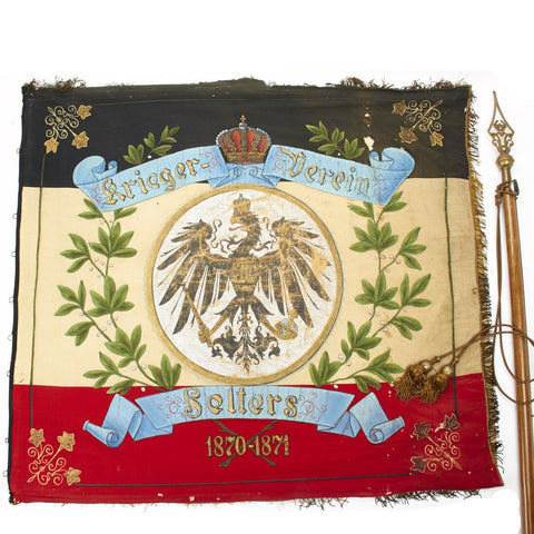 Original Imperial German Franco-Prussian War Veterans Flag and Staff Dated 1870-1871