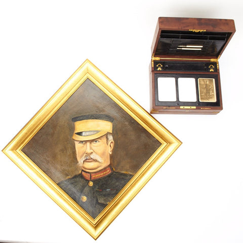 Original British Zulu War Officer Writing Box Set Given to Redvers H. Buller with Oil Painting
