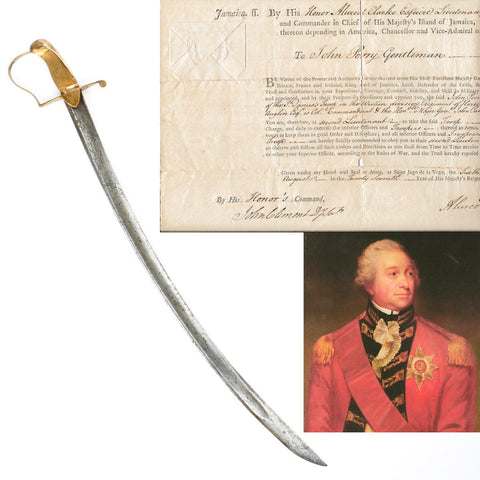 Original British Named Cavalry Saber with Officer Commission Dated 1787 Original Items