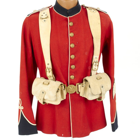 Original British Victorian P-1888 Buff Leather Slade Wallace Equipment Set with Named Royal Marines Sargent Tunic