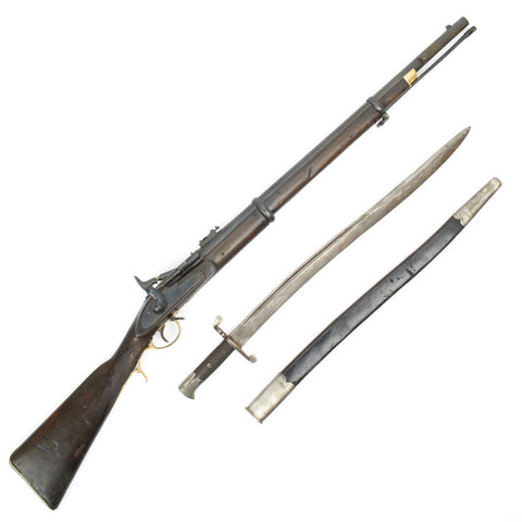 Original British P-1864 Snider type Breech Loading Artillery Carbine and P-56 Saber Bayonet and Scabbard Original Items