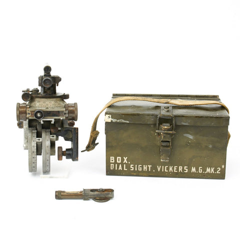 Original British WWII Vickers Machine Gun Dial Sight with Transit Chest