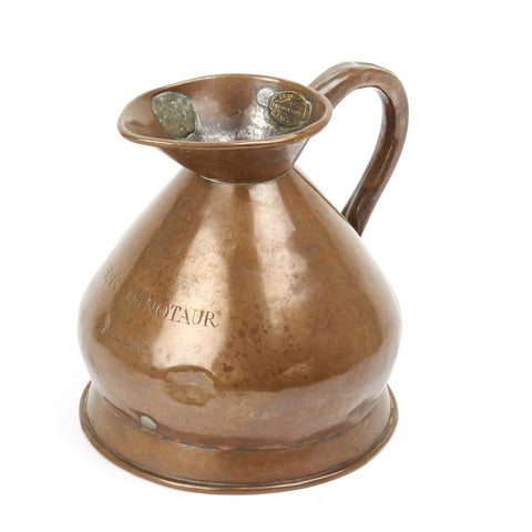 Original British Copper Half Gallon Naval Jug - Marked H.M.S. Minotaur 1885