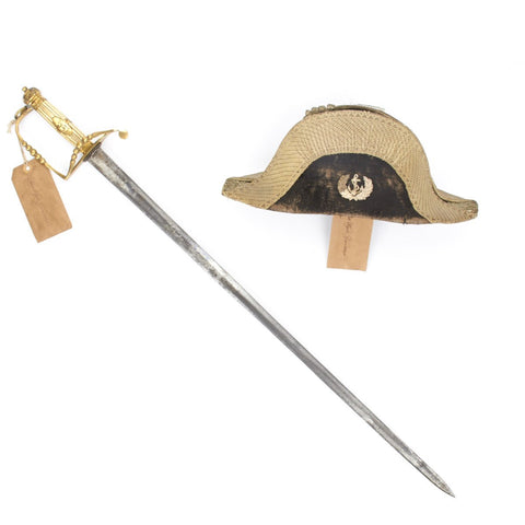 Original East India Company Named Officer Bicorn Hat and Ivory Hilt Sword- Circa 1835